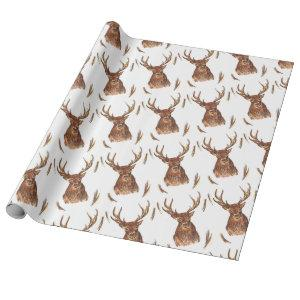 stag deer scottish wrapping paper