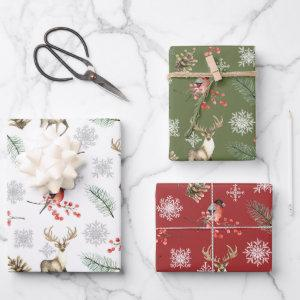 Stag Deer Woodland Winter Pattern Wrapping Paper Sheets