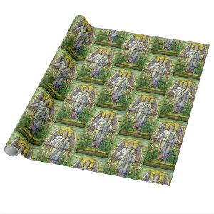 Stained Glass Church Window Resurrection Angel Wrapping Paper