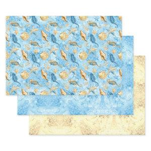 Starfish and Seahorses Blue Ocean Sandy Watercolor Wrapping Paper Sheets