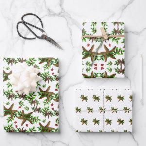 Starfish n Holly Tropical Christmas Pattern White Wrapping Paper Sheets