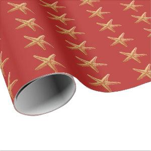 Starfish Red Gold Beach Holiday Christmas Wrapping Paper