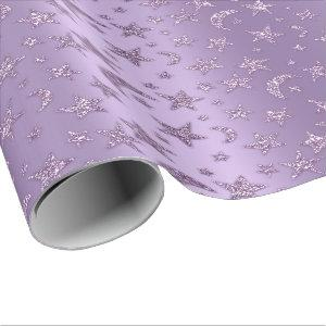 Stars And Moon Sparkly Lavender Purple Violet Wrapping Paper