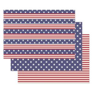 Stars and Stripes Patriotic American Flag USA Wrapping Paper Sheets