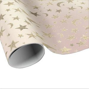 Stars Moon Skinny Blush  Gold Metal Sky Champaign Wrapping Paper