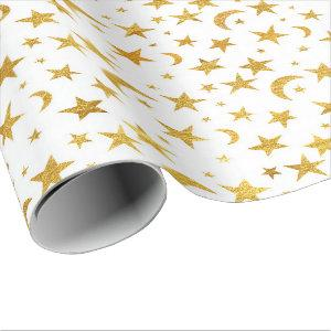 Stars Moon Sky  Gold White Galaxy  Elegant Chic Wrapping Paper