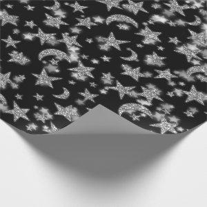 Stars Moon Spark Night Galaxy Black Silver Gray Wrapping Paper