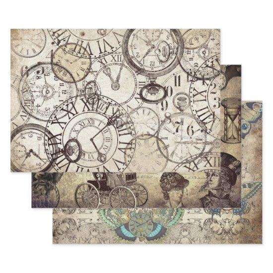 STEAMPUNK CLOCKS & WATCHES HEAVY WEIGHT DECOUPAGE  SHEETS