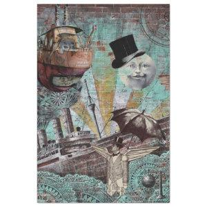 STEAMPUNK SHIPS WITH MOON MAN TISSUE PAPER