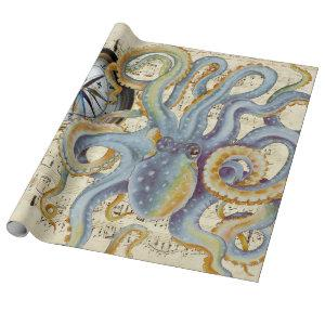 Steel Blue Octopus Music Compass Wrapping Paper