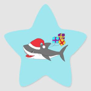 Sticker with a cute Holiday shark