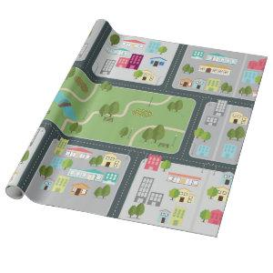 Street Road Map Matte Wrapping Paper