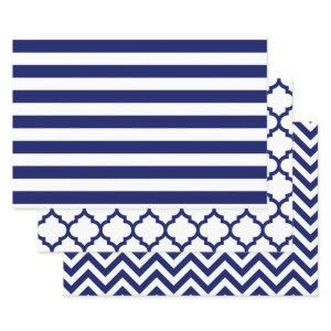 Stripe Moroccan Chevron DIY Colors White Blue Wrapping Paper Sheets