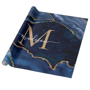 Stylish Navy Blue Gold Agate Geode Chic Monogram Wrapping Paper