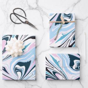 Stylish Navy Pink Marbled Acrylic Pouring Wrapping Paper Sheets