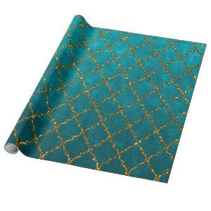 Stylish Turquoise Gold Quatrefoil Glitter Print Wrapping Paper
