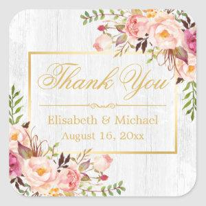 Subtle Chic Wood Grain Floral Gold Frame Thank You Square Sticker