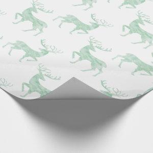 Subtle Mint Green Watercolor Reindeer Wrapping Paper