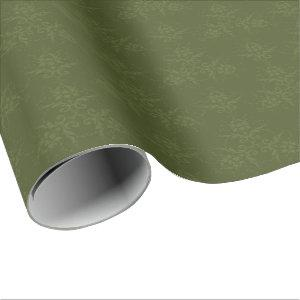 Subtle Olive Green Damask Pattern Wrapping Paper