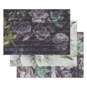 SUCCULANTS & SCRIPT HEAVY WEIGHT DECOUPAGE WRAPPING PAPER SHEETS