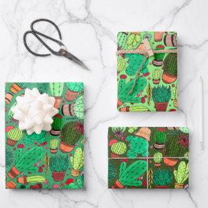 Succulent Cactus Potted Plants Green Cacti Garden Wrapping Paper Sheets