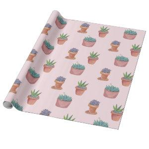 Succulents and cacti on pink background gift wrap