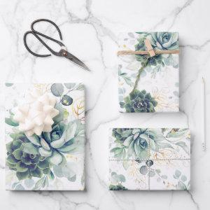 Succulents Greenery and Gold Eucalyptus Leaves  Sheets
