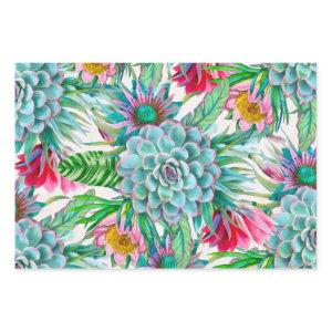 Succulents Tropical Garden Wrapping Paper Sheets