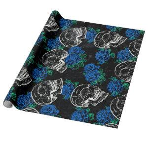 Sugar Skull Blue Rose   Cool Royal Sapphire Grunge Wrapping Paper