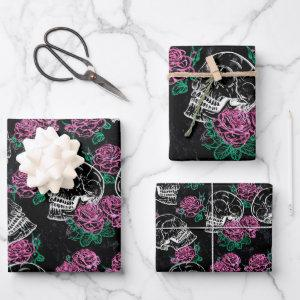 Sugar Skull Pink Roses | Girly Gothic Grunge Glam Wrapping Paper Sheets