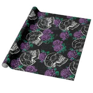 Sugar Skull Purple Roses | Dark Royal Grunge Glam Wrapping Paper