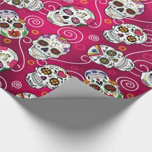 Sugar Skulls and Swirls Red ID725 Wrapping Paper