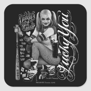 Suicide Squad   Harley Quinn Typography Photo Square Sticker