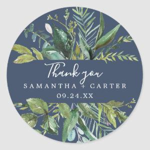 Summer Greenery | Navy Thank You Favor Sticker