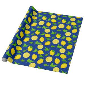 Summer Yellow Lemons and Green Leaves Royal Blue Wrapping Paper