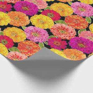 Summer Zinnias Pink Yellow Floral Wrapping Paper