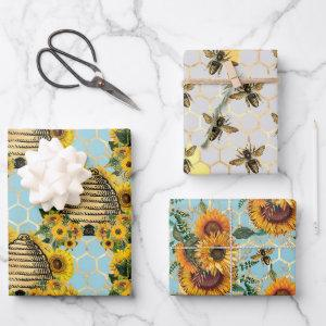 Sunflower and Bee Series Design Four Wrapping Paper Sheets