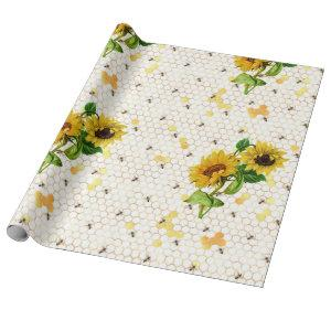 Sunflower and Bee Series Design Nine Wrapping Paper