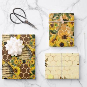 Sunflower and Bee Series Design One Wrapping Paper Sheets