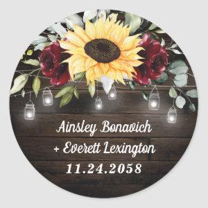 Sunflower and Burgundy Red Rose Rustic Wedding Classic Round Sticker