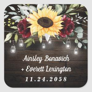 Sunflower and Burgundy Red Rose Rustic Wedding Square Sticker