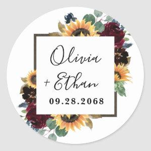 Sunflower and Roses Burgundy Red Navy Blue Wedding Classic Round Sticker