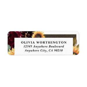 Sunflower and Roses Burgundy Red Navy Blue Wedding Label