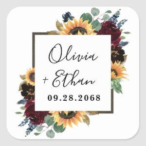 Sunflower and Roses Burgundy Red Navy Blue Wedding Square Sticker