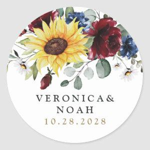 Sunflower Burgundy Roses Navy Blue Rustic Wedding Classic Round Sticker