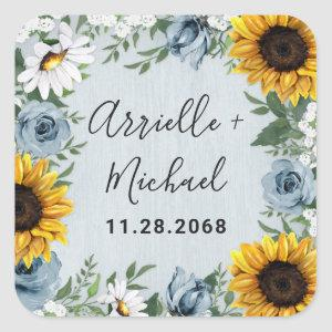 Sunflower Dusty Blue Country Rustic Roses Wedding Square Sticker