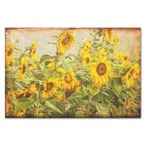 Sunflower Field Vintage Antique Yellow Decoupage Tissue Paper