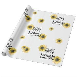 Sunflower Happy Birthday Wrapping Paper