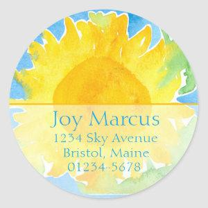Sunflower Watercolor Painting Return Address Classic Round Sticker