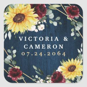 Sunflowers Burgundy Roses Navy Geometric Wedding Square Sticker